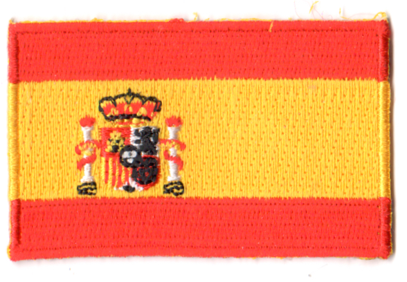 Spanien Tygmarke Flagga Kop Spanien Tygmarken Med Flaggor