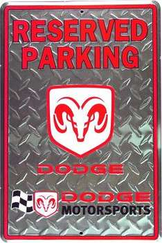 DODGE RESERVED PARKING PLÅTSKYLT 46x30cm