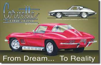 CHEVROLET CORVETTE STINGRAY PLÅTSKYLT 40,5x26cm
