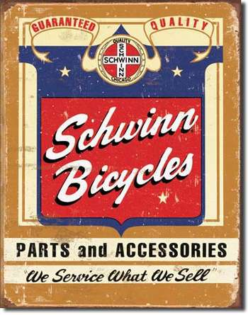 SCHWINN BICYCLES PLÅTSKYLT 40,5x31,5cm