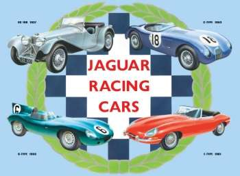 JAGUAR RACING CARS PLÅTSKYLT 41x30cm